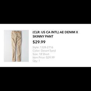 AE Denim X Skinny Pant in Desert Sand NWOT